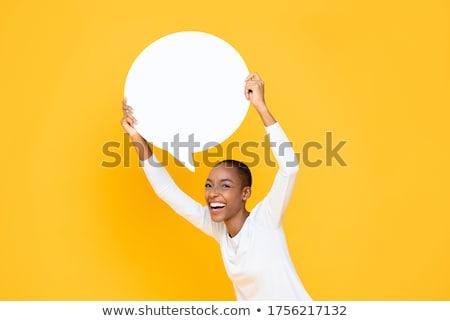 Mutlu kız konuşma balonu örnek kız dizayn imzalamak Stok fotoğraf © colematt