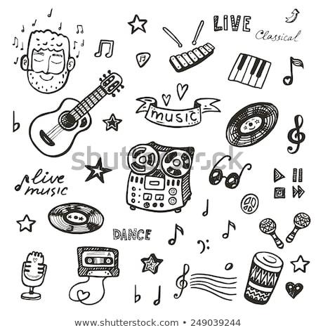 vector · establecer · música · retro · vinilo · registro - foto stock © netkov1
