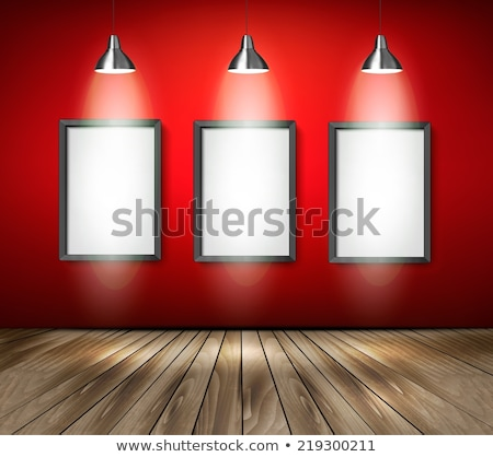 Red Curtains On White Brick Wall Background Vector Stock photo © pikepicture
