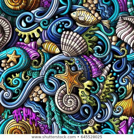 Vektor végtelen minta színes absztrakt hal világ Stock fotó © user_10144511