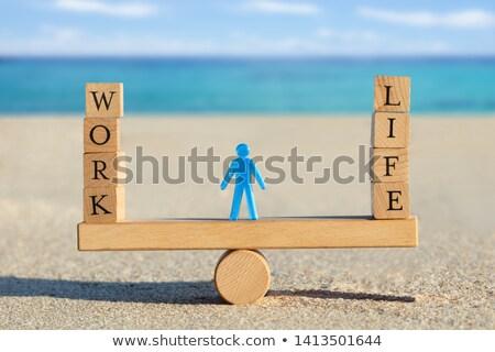 Fából készült munka élet kockák egyensúlyoz hinta Stock fotó © AndreyPopov