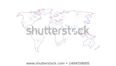 Vector Linear World Map with location radial marker, editable stroke. vector illustration isolated o Stock photo © kyryloff