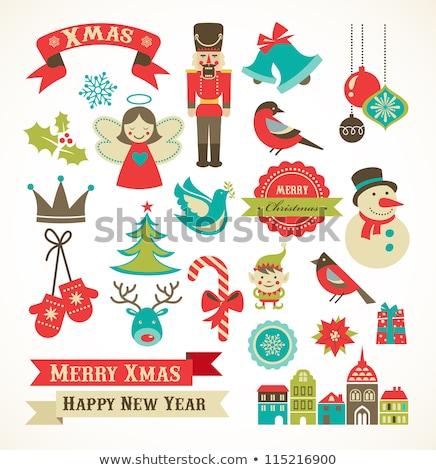 Рождества · ретро · иконки · Элементы · вектора - Сток-фото © marish