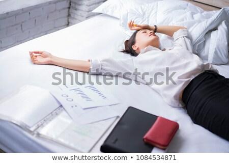 Zmęczony biznesmen pracy przystojny mężczyzna patrząc Zdjęcia stock © artfotodima