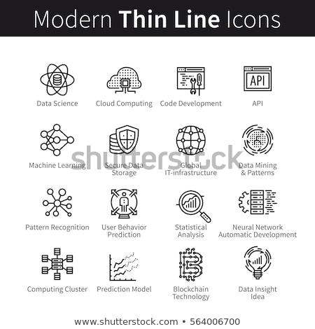 Blockchain Studies Icons Set Vector Illustration Stock photo © robuart