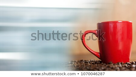 Red coffee cup and blurry blue transition Stock photo © wavebreak_media