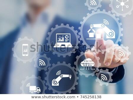 触れる スマート 画面 歯車 歯車 雲 ストックフォト © wavebreak_media