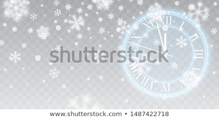 Vintage ouro brilhante relógio natal neve Foto stock © olehsvetiukha