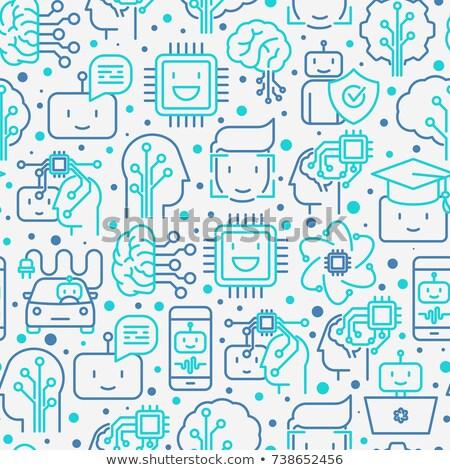 Mesterséges intelligencia vonal végtelen minta skicc üzlet internet Stock fotó © Anna_leni