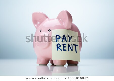 Piggybank With Pay Rent Sticky Note Stock photo © AndreyPopov