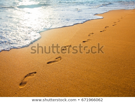 Stock photo: beach, wave and footsteps