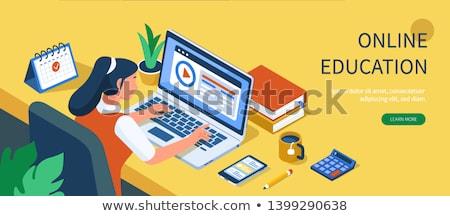 Online dystans edukacji banner poziomy kolorowy Zdjęcia stock © -TAlex-