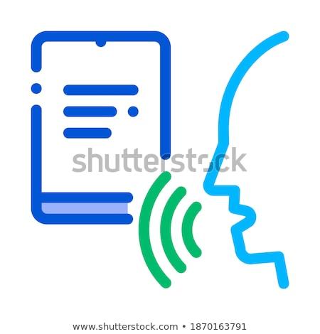 ноутбук человека голосом контроль икона вектора Сток-фото © pikepicture
