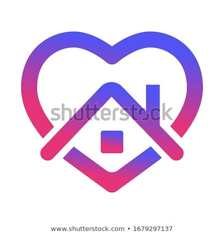 Stay home, heart, home sticker symbol vector illustration. Stock photo © ikopylov