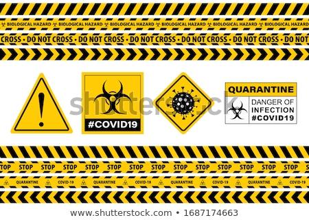 Citromsárga bioveszély felirat koronavírus szöveg veszély Stock fotó © alessandro0770