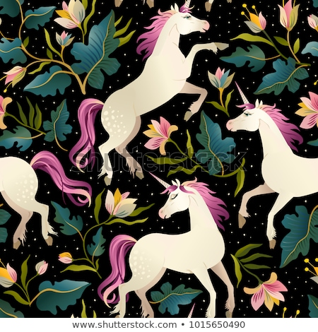 Oscuro caballo negro rosa sin costura vector Foto stock © yopixart