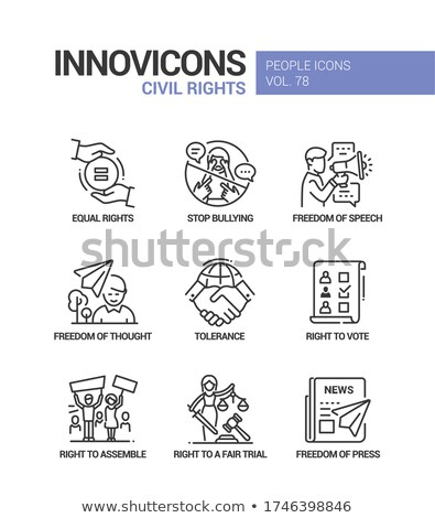 Civil rights concept line design style icons set Stock photo © Decorwithme