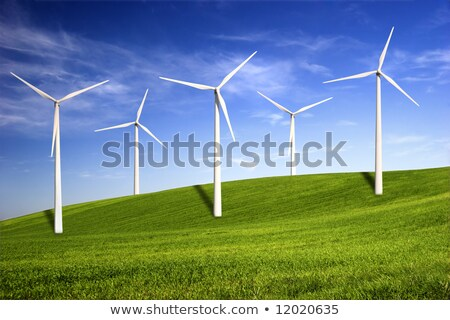 Beautiful green meadow with Wind turbines generating electricity Stock photo © HASLOO