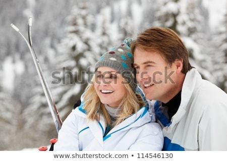 Paar skiën vakantie samen vrouw Stockfoto © photography33