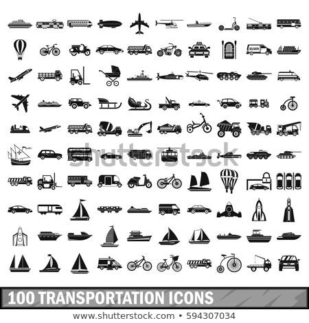Conjunto transporte ícones airbus helicóptero assinar Foto stock © Ecelop