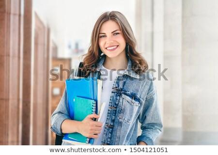 Weiblichen Studenten lächelnd halten Notebooks Mädchen Stock foto © alexandrenunes