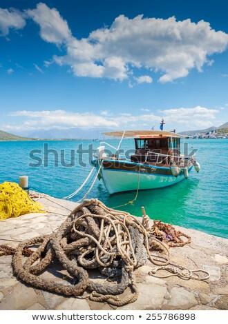 Yunan sahil tekne mavi Stok fotoğraf © timwege