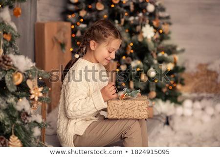 mutlu · kız · Noel · dekorasyon · şapka · el · yapımı - stok fotoğraf © ilona75