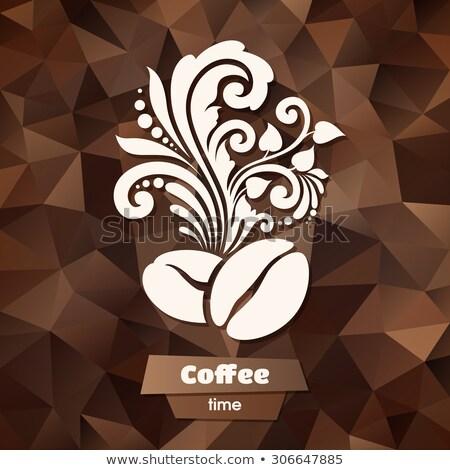 Absztrakt fürtös kávé címke vektor alkotóelem Stock fotó © prokhorov