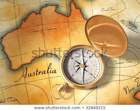 world map with compass showing oceania stock photo © wavebreak_media