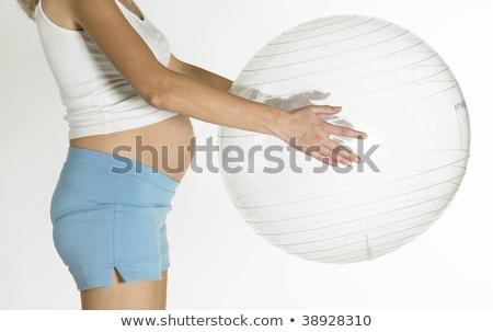 részlet · terhes · nő · nők · sport · labda · képzés - stock fotó © phbcz