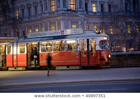kırmızı · eski · araba · Viyana · ilk · bölge - stok fotoğraf © meinzahn
