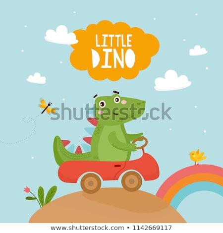 little dinosaur and dragonfly stock photo © genestro