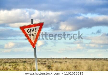 donner · façon · signe · pays · chemin · de · terre - photo stock © iofoto