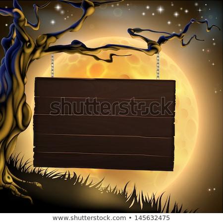 halloween tree sign background stock photo © krisdog