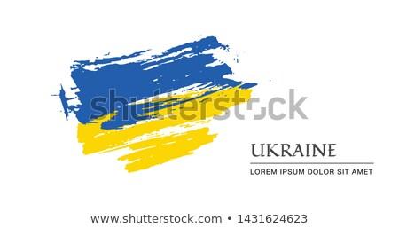 Bandeira Ucrânia mão cor país estilo Foto stock © claudiodivizia