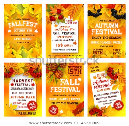 Autumn banner with red rowan berry and maple leaves, vector illustration Stock photo © carodi