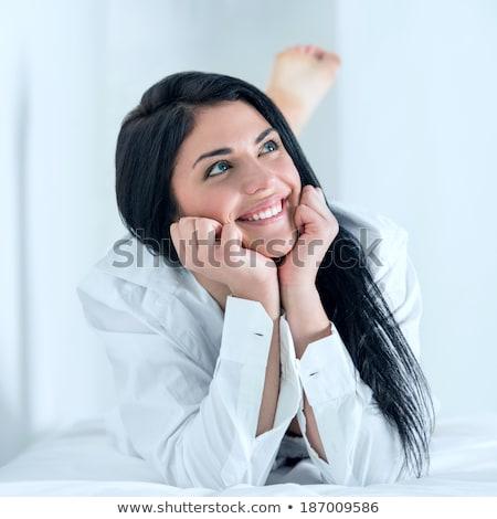 Gondtalan visel póló csinos nő álmodik boldog Stock fotó © HASLOO