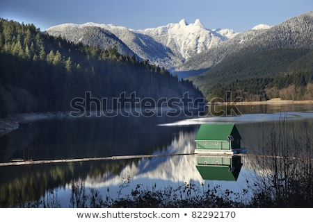 Capilano Reservoir Lake Snowy Two Lions Mountains Vancouver Brit Stock photo © billperry