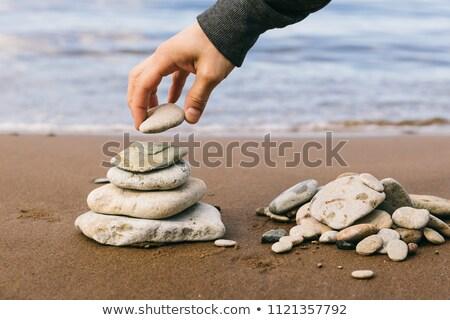 zrównoważony · kamienie · biały · odizolowany · ścieżka · tle - zdjęcia stock © iko