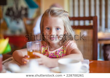 ファッション 女の子 朝食 リゾート レストラン 愛らしい ストックフォト © travnikovstudio