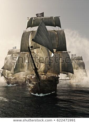 eski · korsan · gemi · yelkencilik · okyanus · gün · batımı - stok fotoğraf © elenarts