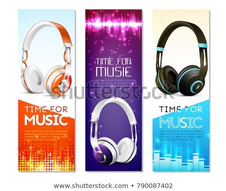 Realistico cuffie musica onde illustrazione bianco Foto d'archivio © ankarb