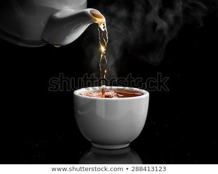 Tea csésze reggeli víz asztal növény Stock fotó © Peredniankina
