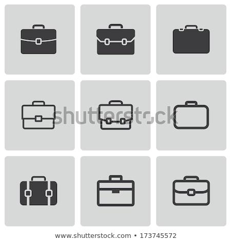 iş · bavul · ikon · stil · yalıtılmış · beyaz - stok fotoğraf © robuart