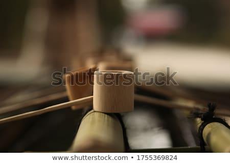 Interior of a wooden Buddhist temple Stock photo © smithore