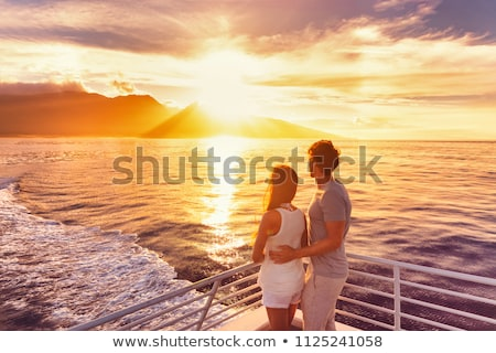 Stockfoto: Liefhebbers · zonsondergang · illustratie · bruiloft · liefde · bruid