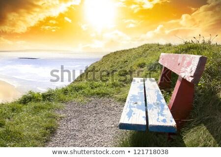 benches with views of Ballybunion beach Stock photo © morrbyte