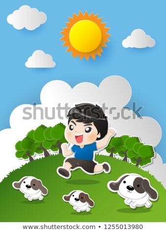 moda · crianças · saltando · feliz · sorridente · festa - foto stock © manaemedia