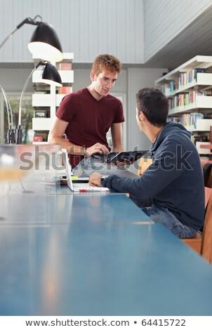 студентов · столе · молодые · домашнее · задание · сидят · набрав - Сток-фото © diego_cervo