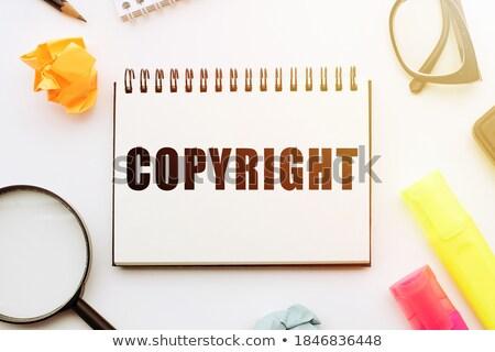 Szerzői jog nagyító régi papír piros függőleges vonal Stock fotó © tashatuvango